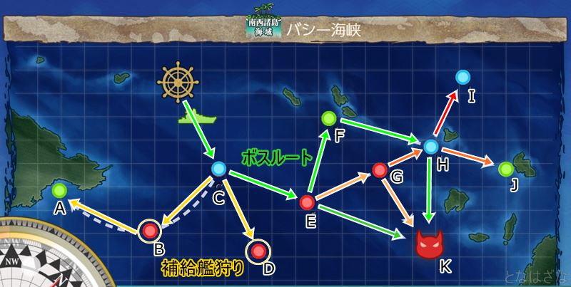 艦これ第二期2-2「バシー海峡」のマップ