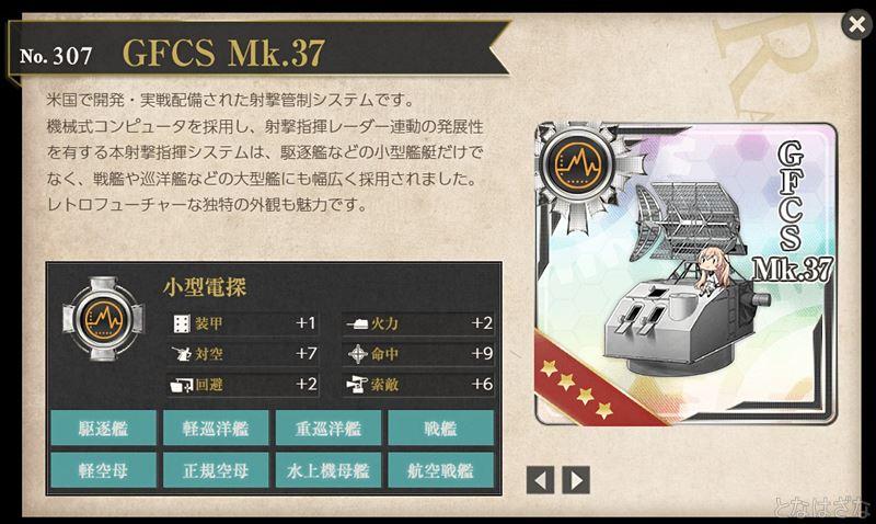 艦これ2018鎮守府秋刀魚祭りの任務攻略報酬「GFCS mk.37」