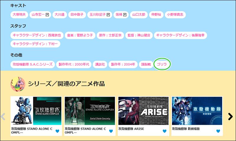 dアニメストア検索タグ