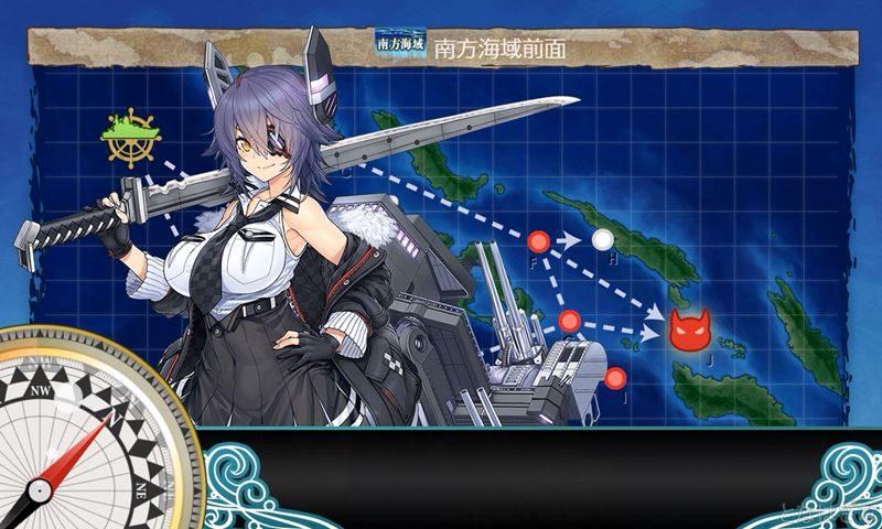 艦これ任務『新編成「三川艦隊」、鉄底海峡に突入せよ!』で5-1出撃時の天龍改二