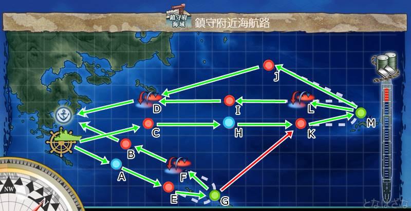 艦これ第二期クォータリー任務「強行輸送艦隊、抜錨!」の1-6マップと進行ルート