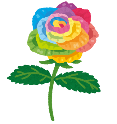 PNGoo いらすと屋の虹色のバラの元画像 128色