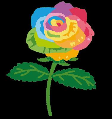 PNGoo いらすと屋の虹色のバラの元画像 16色