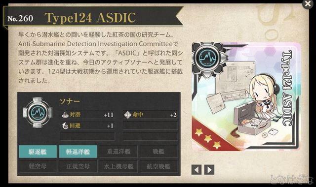 艦これ17年八月作戦戦果褒賞 Type124 ASDIC 図鑑1