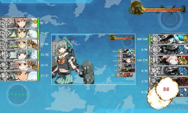 艦これ単発任務「精強大型航空母艦、抜錨!」 5-5Nボスマス 先制対潜夕張
