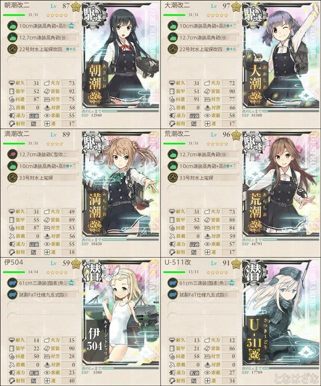艦これ単発任務〈「第八駆逐隊」、南西へ!〉 1-2編成 小