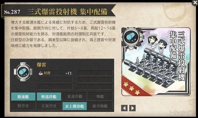 艦これ「三式爆雷投射機 集中配備」 図鑑