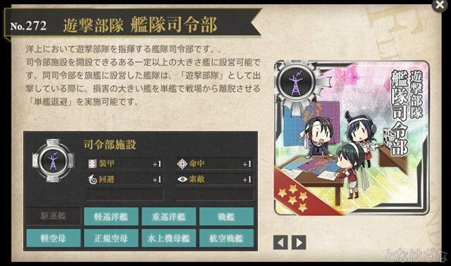 艦これ2017秋イベント 新艦・新装備・新仕様 図鑑「遊撃部隊 艦隊司令部」