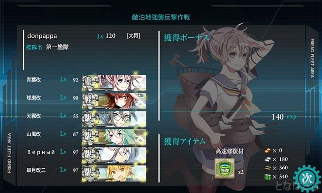 艦これ新遠征「敵泊地強襲反撃作戦」 獲得ボーナス(大成功)