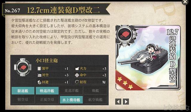 艦これ2017年12月27日アップデート 図鑑「12.7cm連装砲D型改二」