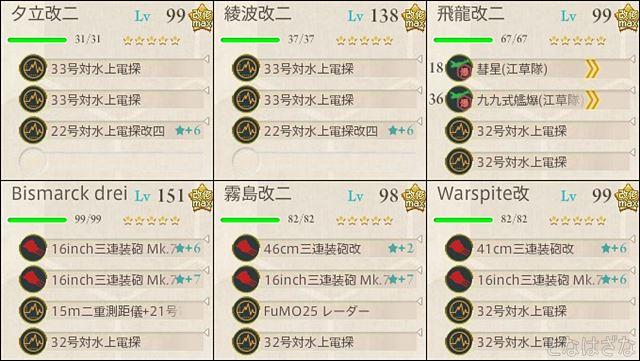 艦これ2018冬イベントE6甲第一ゲージ 支援射撃編成