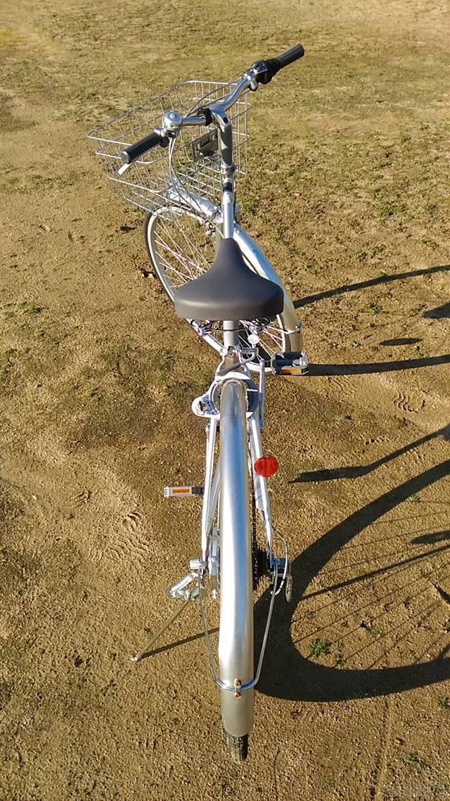 通販自転車シティサイクル 全体 後方から