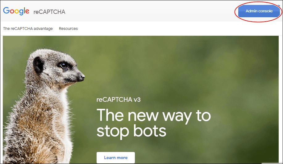 reCAPTCHAのトップページ