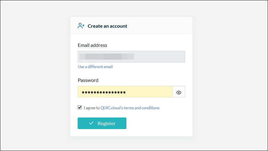 quic.cloudに登録