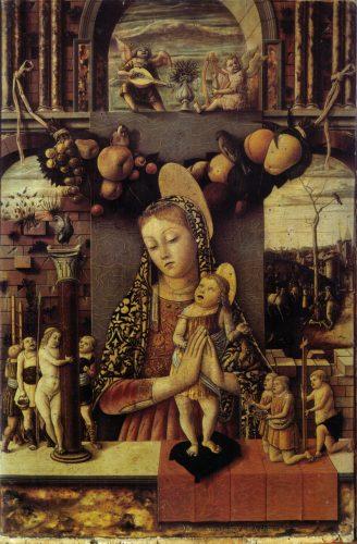 カルロ・クリヴェッリ 受難の象徴の前の聖母子