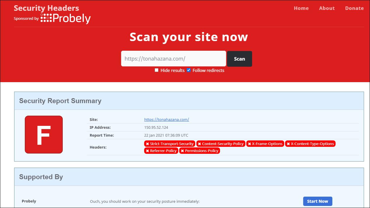 securityheaders.comでF判定